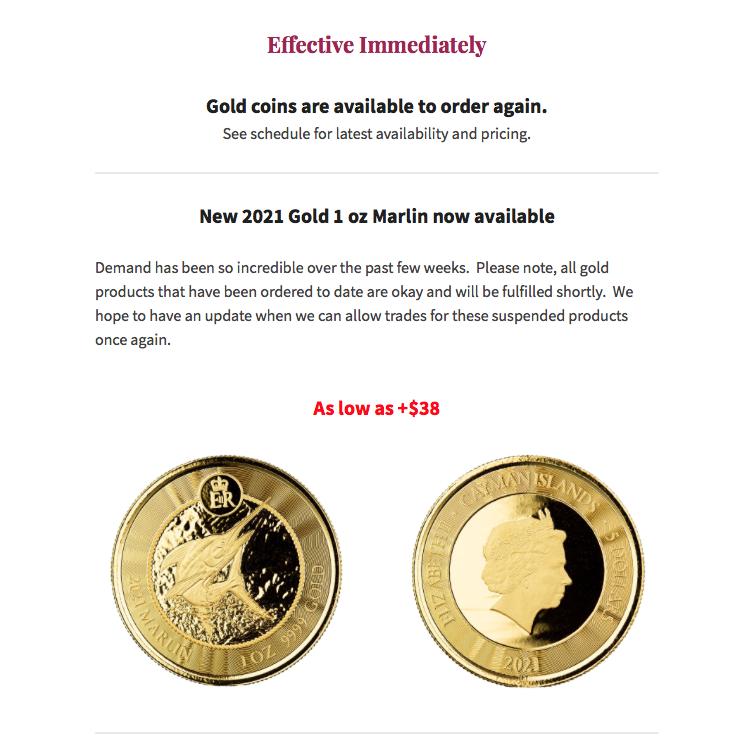 Gold Marlins 1 oz 2021