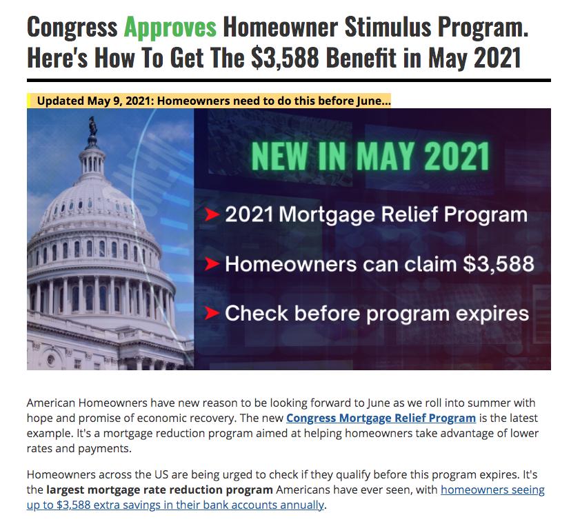 homeowners stimulus program 2021 05 10