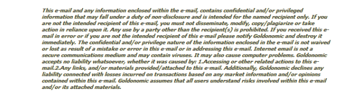 disclaimer newsletter